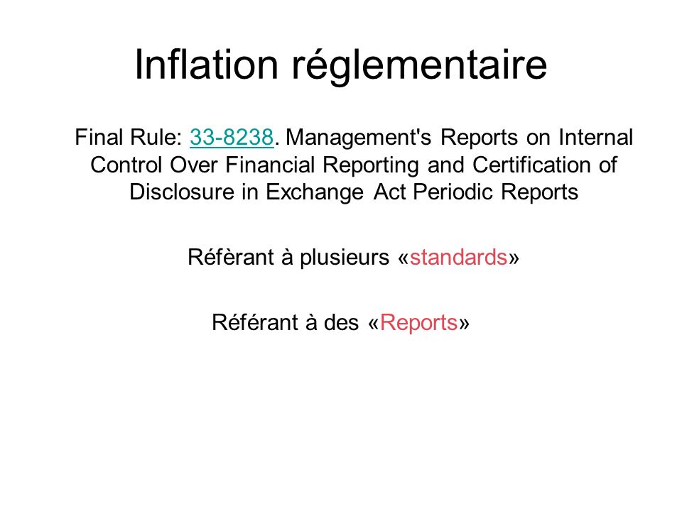 Inflation réglementaire