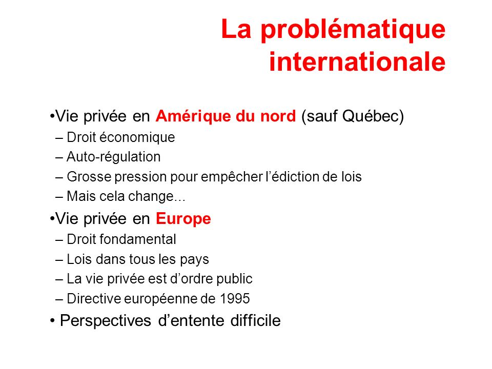 La problématique internationale