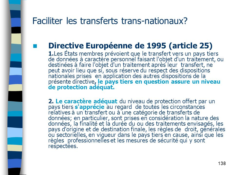 Faciliter les transferts trans-nationaux