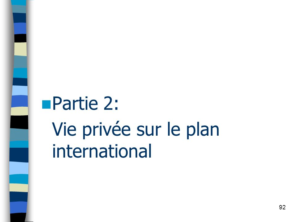 Vie privée sur le plan international