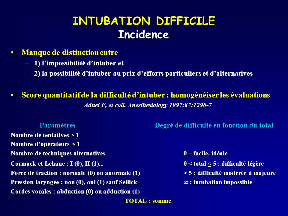 INTUBATION DIFFICILE Incidence