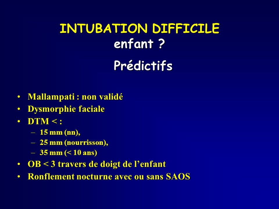 INTUBATION DIFFICILE enfant