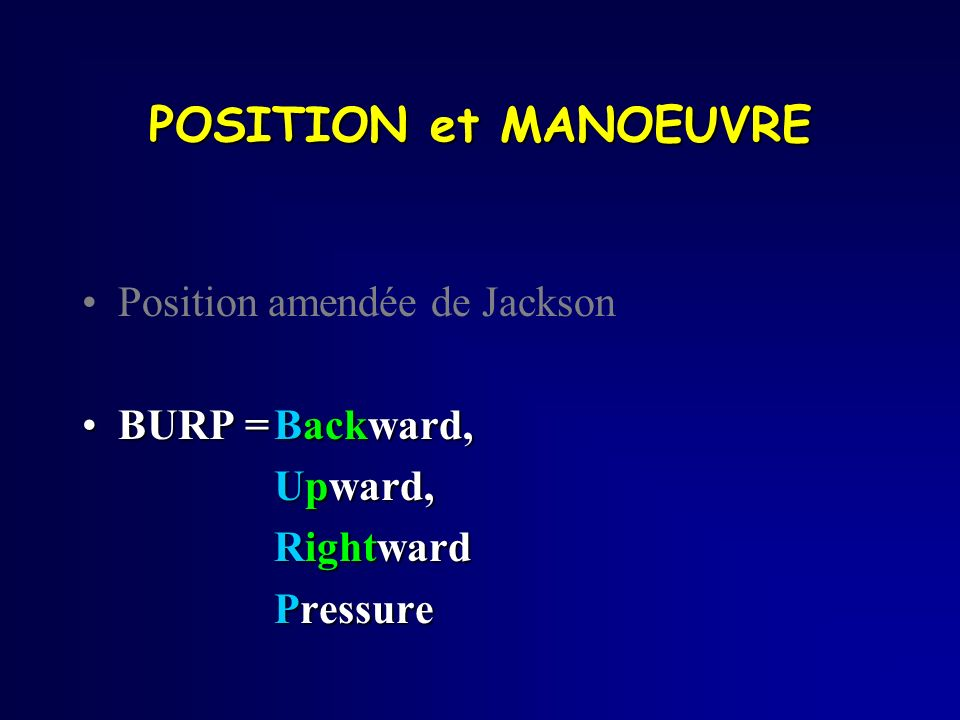 POSITION et MANOEUVRE Position amendée de Jackson BURP = Backward,