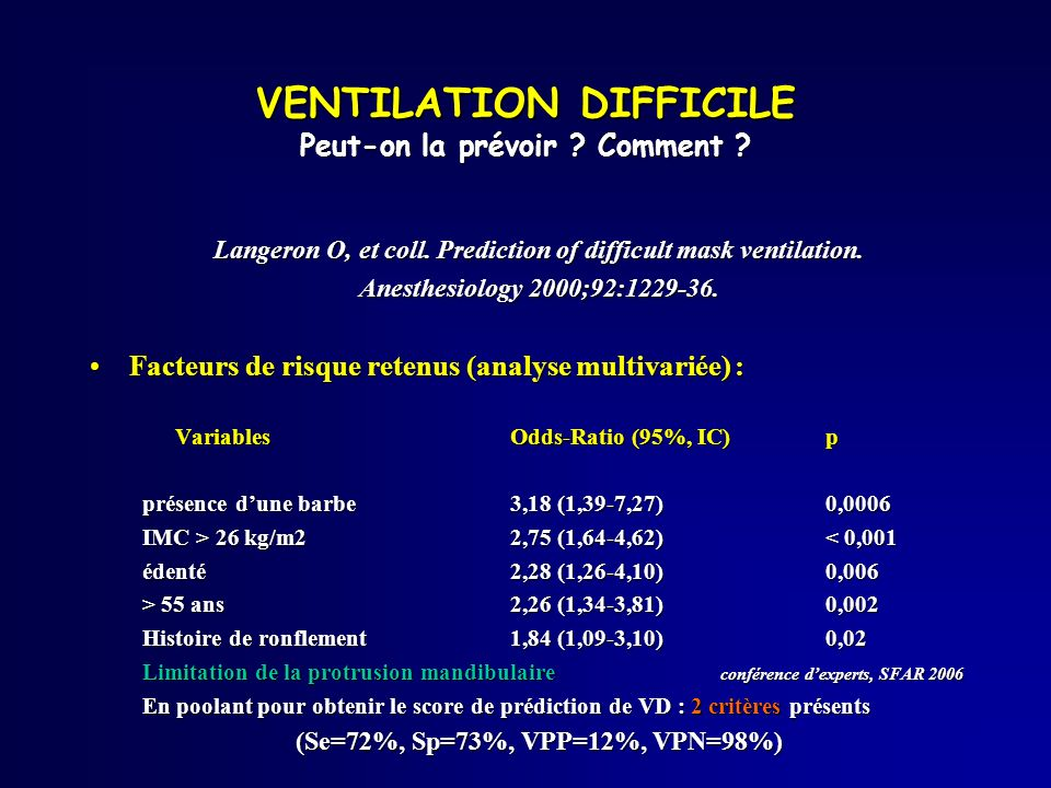VENTILATION DIFFICILE Peut-on la prévoir Comment