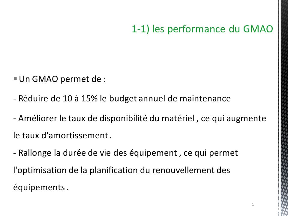 1-1) les performance du GMAO