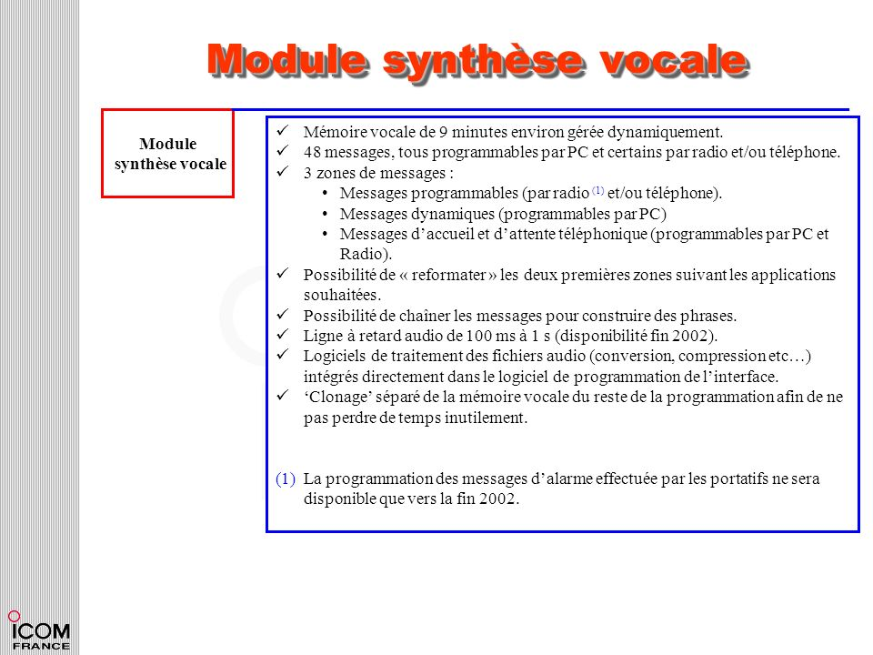 Module synthèse vocale