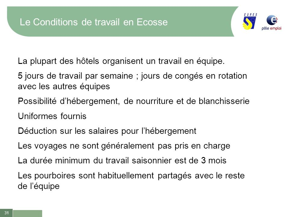 Le Conditions de travail en Ecosse