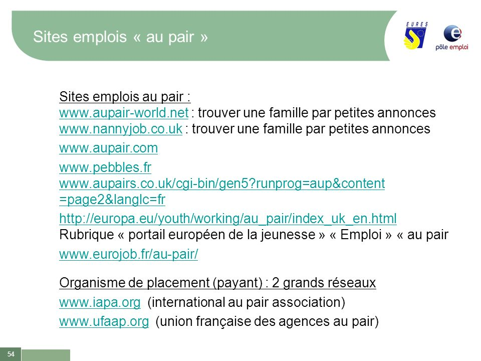 Sites emplois « au pair »