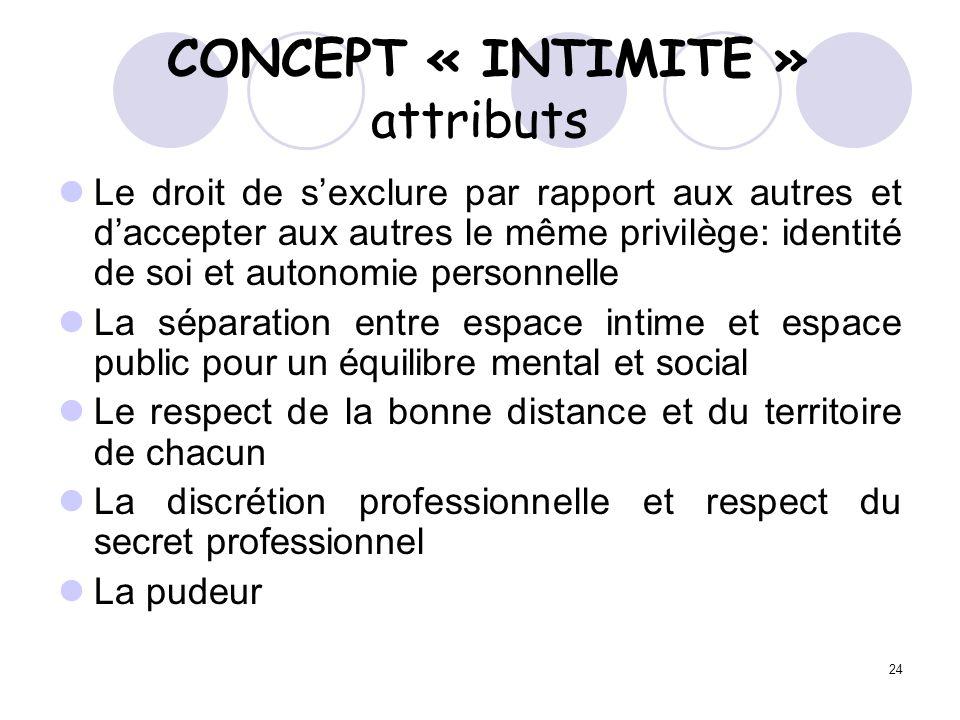 CONCEPT « INTIMITE » attributs