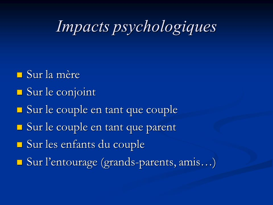 Impacts psychologiques