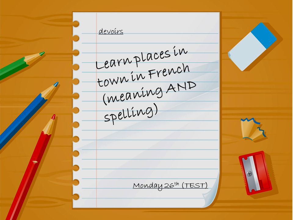 Learn places in town in French (meaning AND spelling)