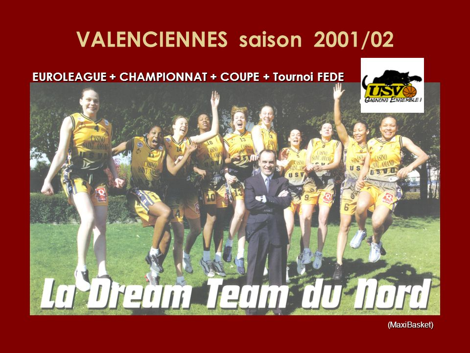 VALENCIENNES saison 2001/02 EUROLEAGUE + CHAMPIONNAT + COUPE + Tournoi FEDE (MaxiBasket)