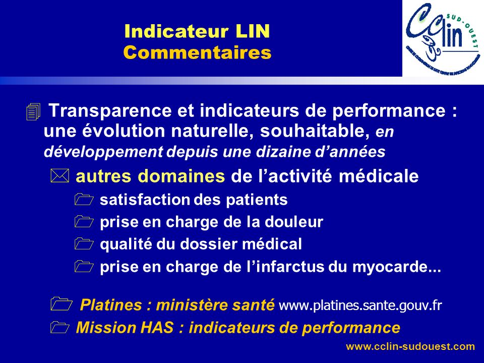 Indicateur LIN Commentaires