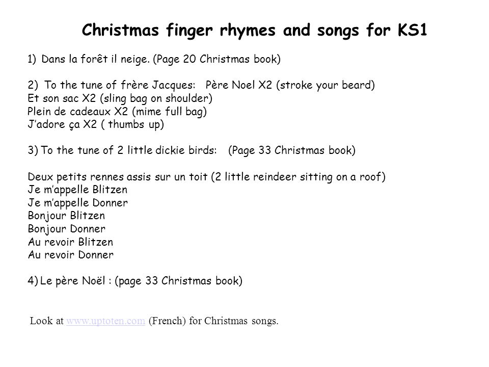 Christmas finger rhymes and songs for KS1
