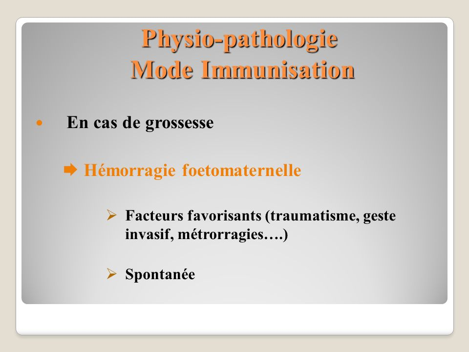 Physio-pathologie Mode Immunisation
