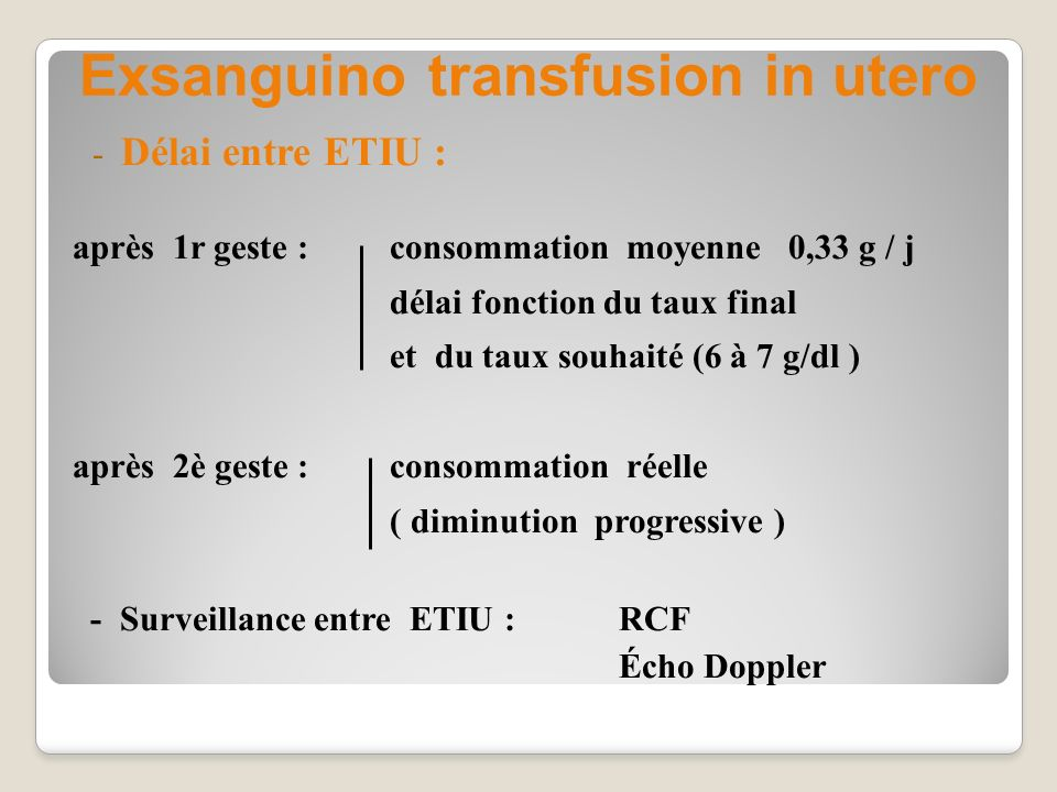 Exsanguino transfusion in utero