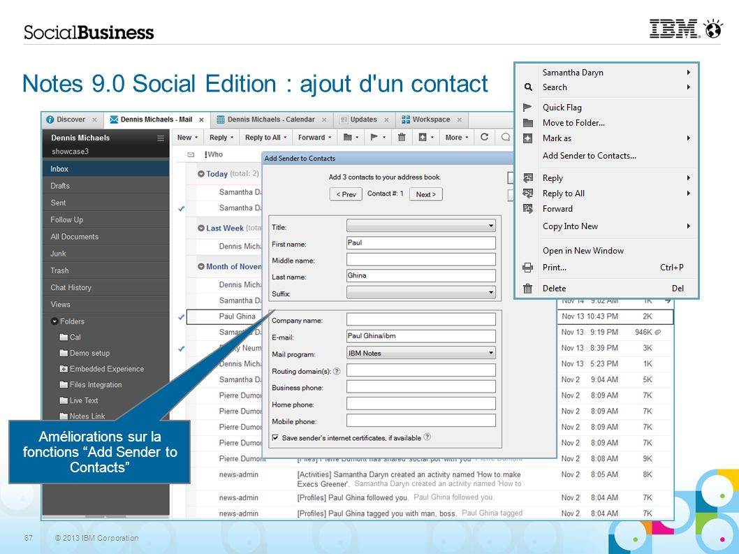 Notes 9.0 Social Edition : ajout d un contact