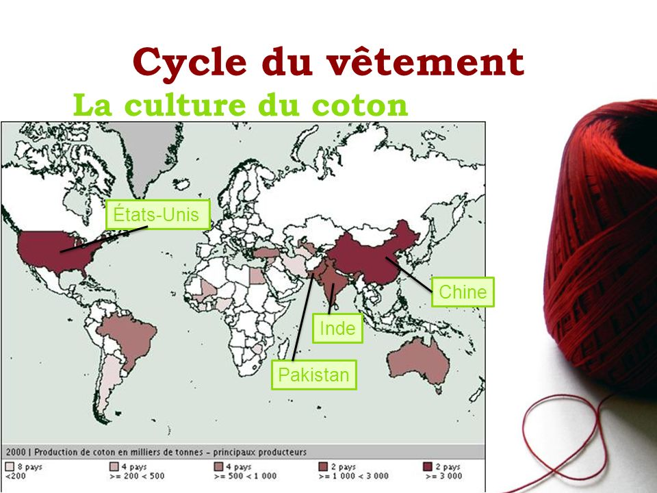 Cycle du vêtement La culture du coton États-Unis Chine Inde Pakistan