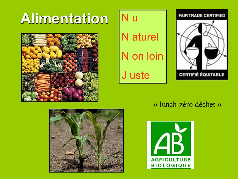 Alimentation N u N aturel N on loin J uste « lunch zéro déchet »