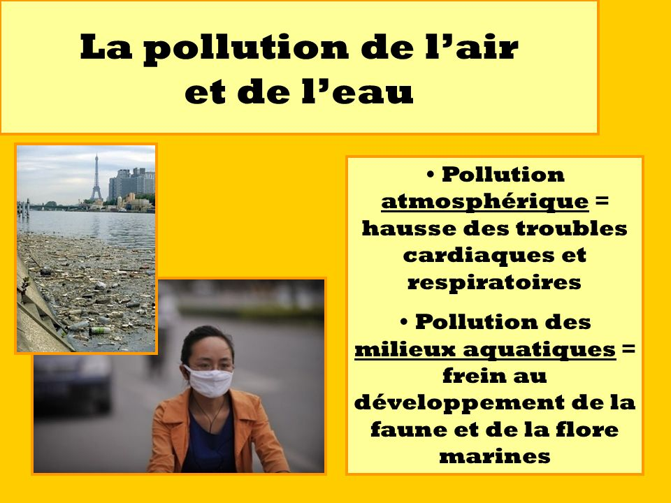 La pollution de l'air et de l'eau