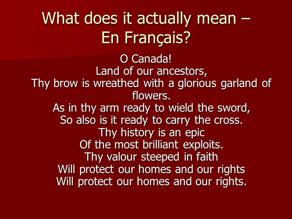 What does it actually mean – En Français