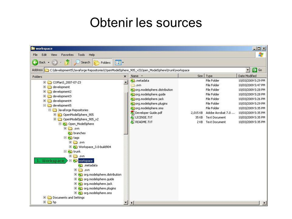 Obtenir les sources 1. Workspace