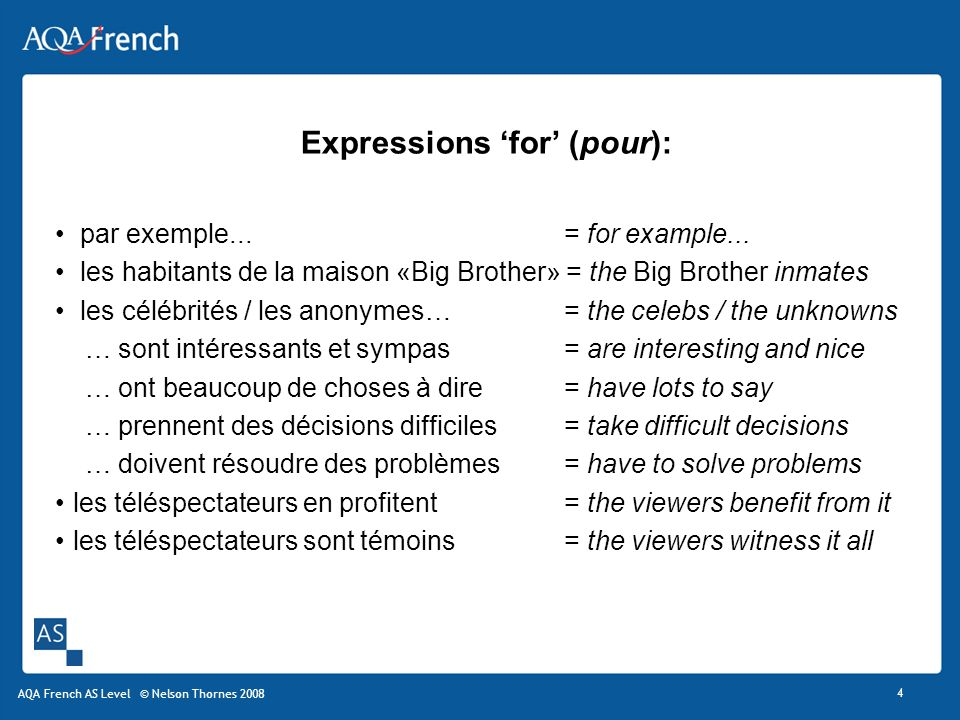 Expressions 'for' (pour):