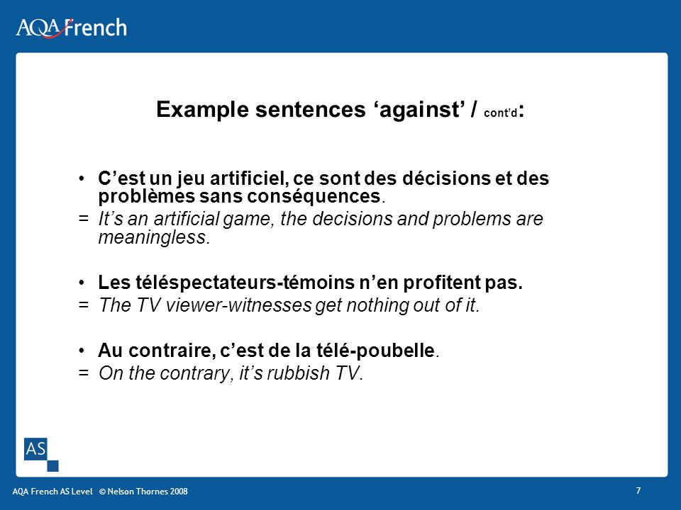 Example sentences 'against' / cont'd: