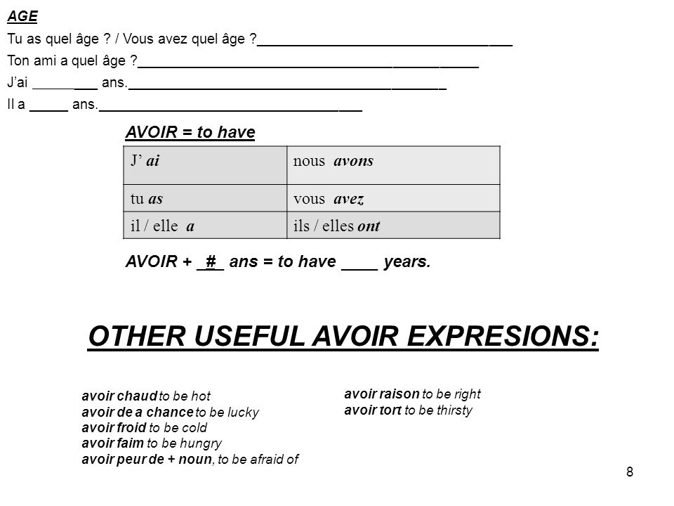 OTHER USEFUL AVOIR EXPRESIONS: