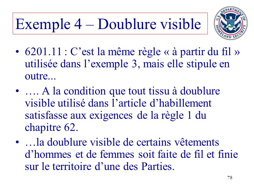 Exemple 4 – Doublure visible