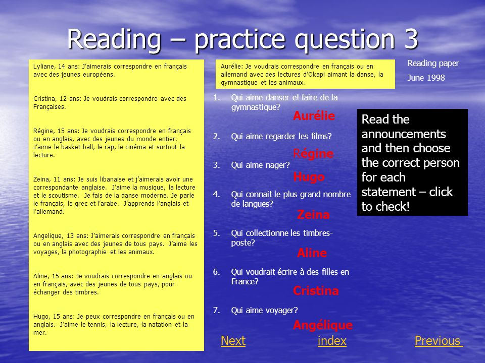 Reading – practice question 3
