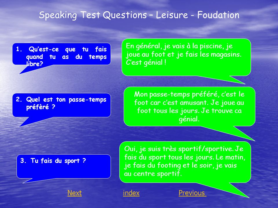 Speaking Test Questions – Leisure - Foudation