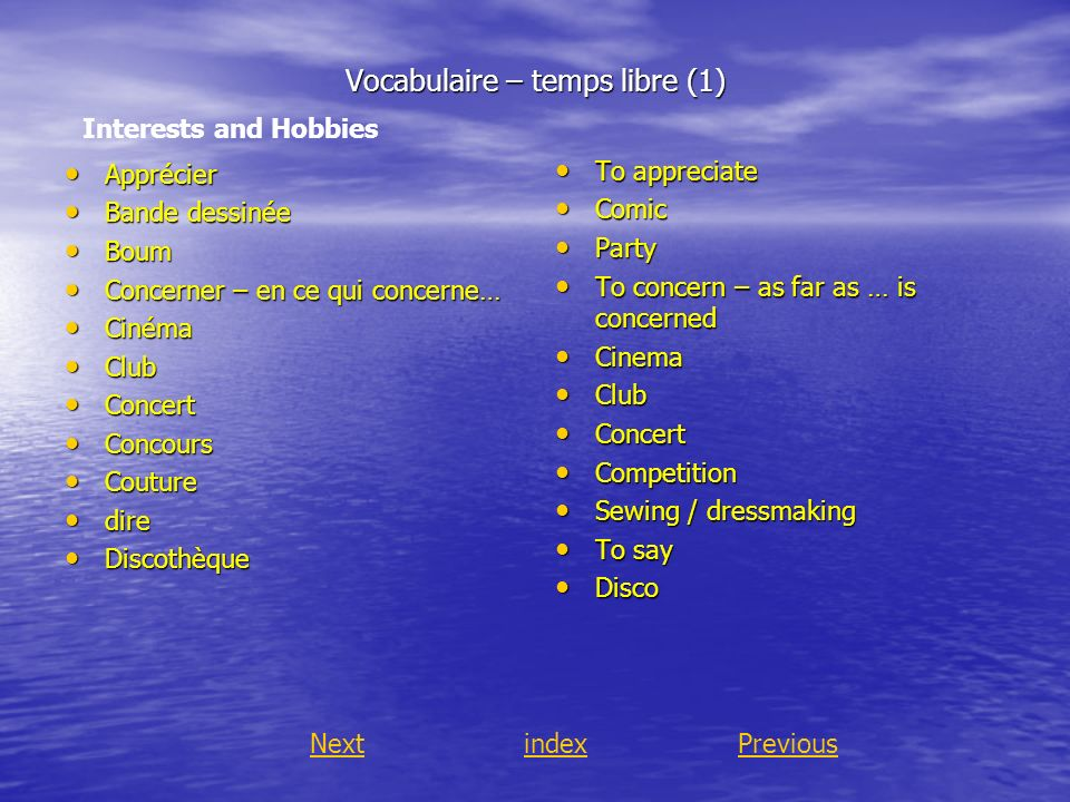 Vocabulaire – temps libre (1)