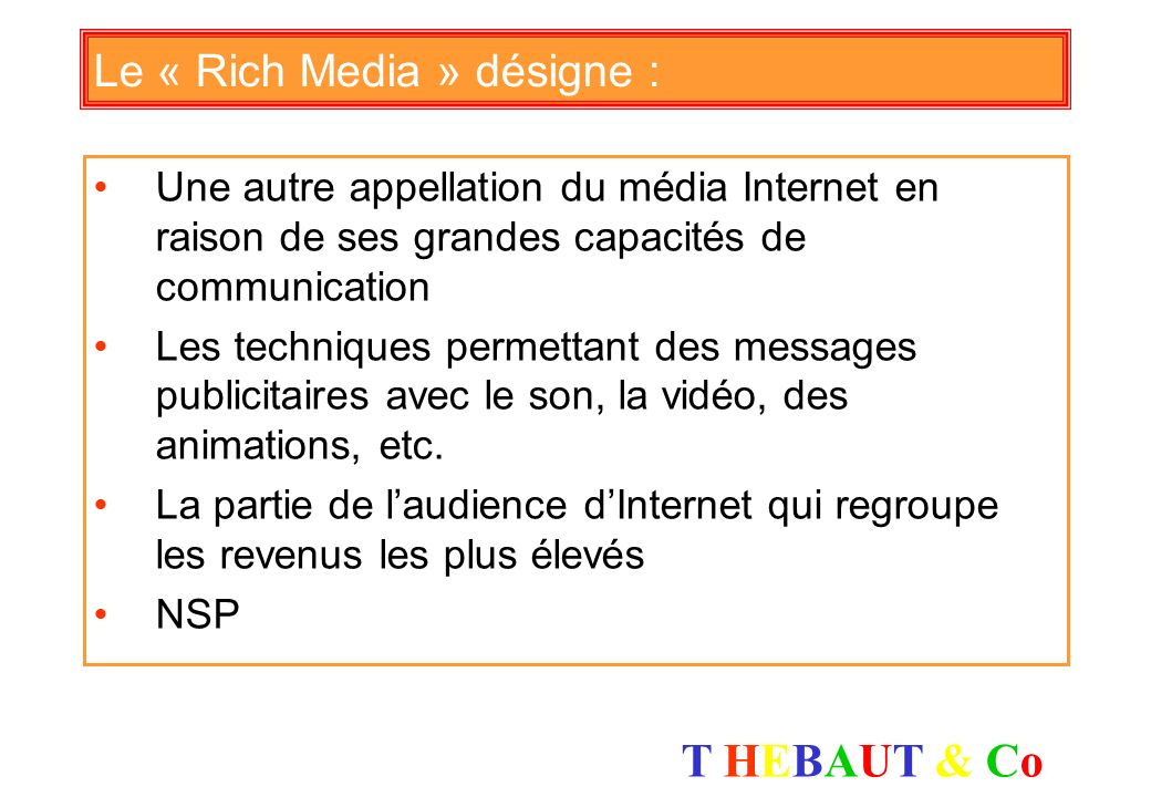 Le « Rich Media » désigne :