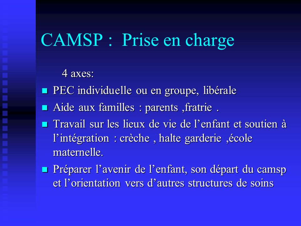 CAMSP : Prise en charge 4 axes: