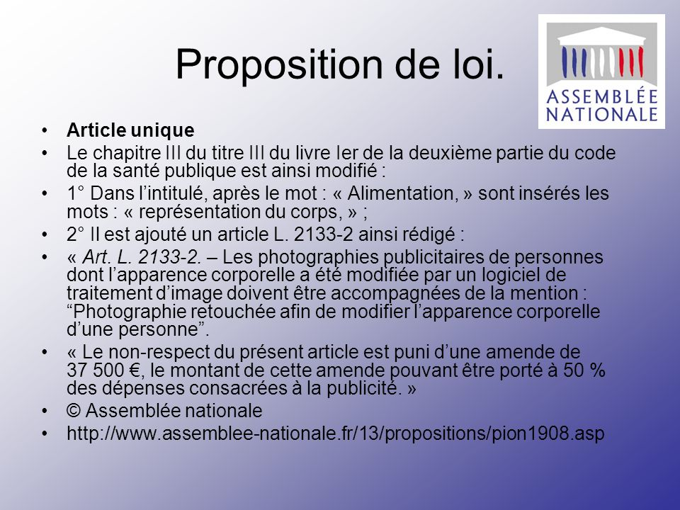 Proposition de loi. Article unique