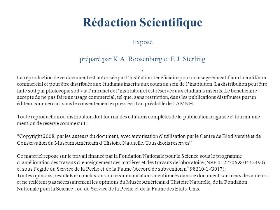 Rédaction Scientifique