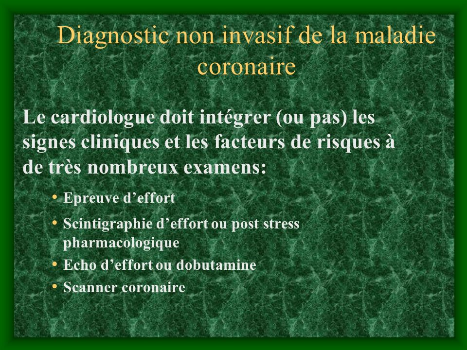 Diagnostic non invasif de la maladie coronaire