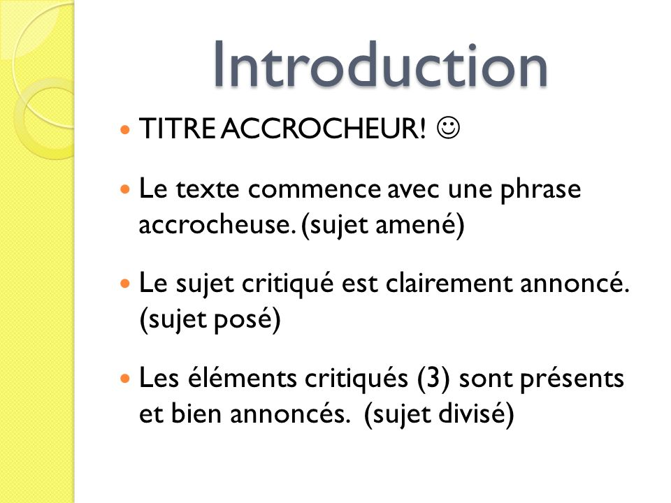 Introduction TITRE ACCROCHEUR! 