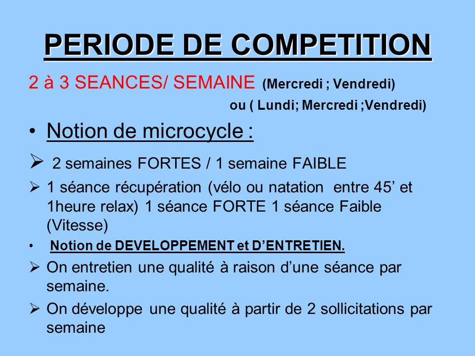 PERIODE DE COMPETITION