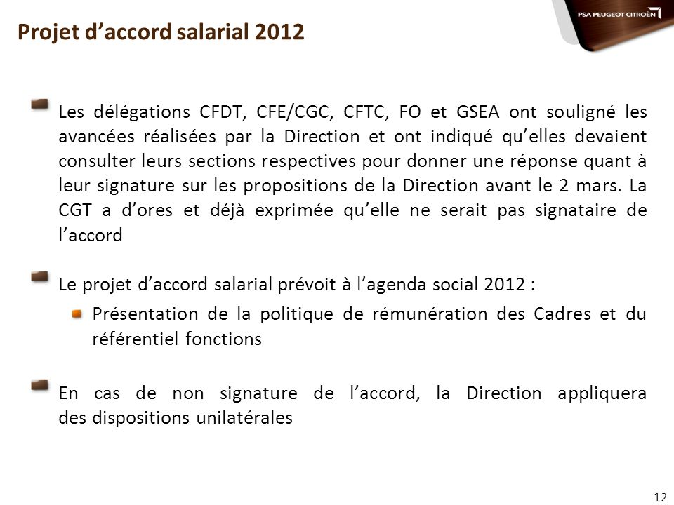 Projet d'accord salarial 2012