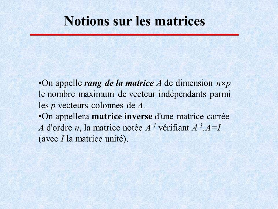 Notions sur les matrices