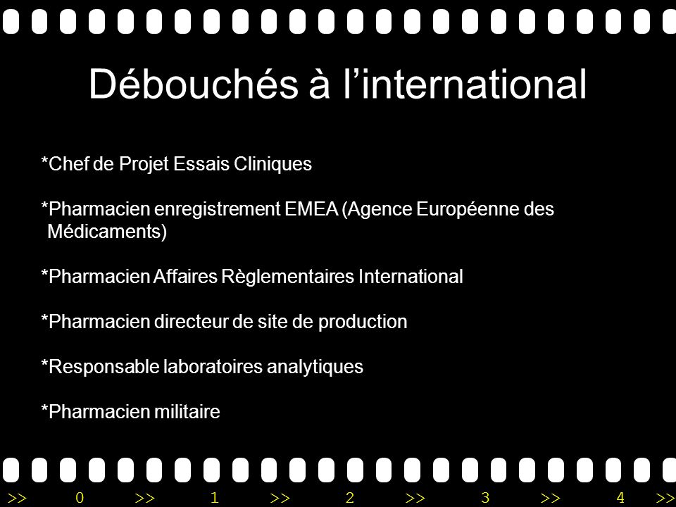Débouchés à l'international