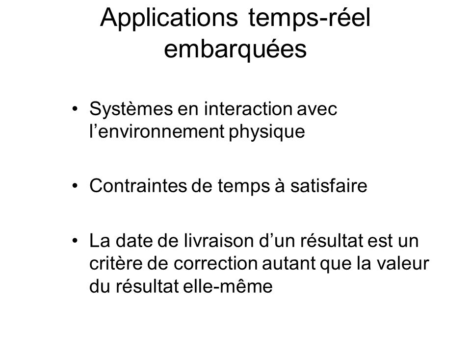 Applications temps-réel embarquées