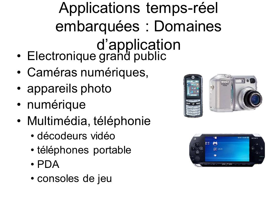 Applications temps-réel embarquées : Domaines d'application