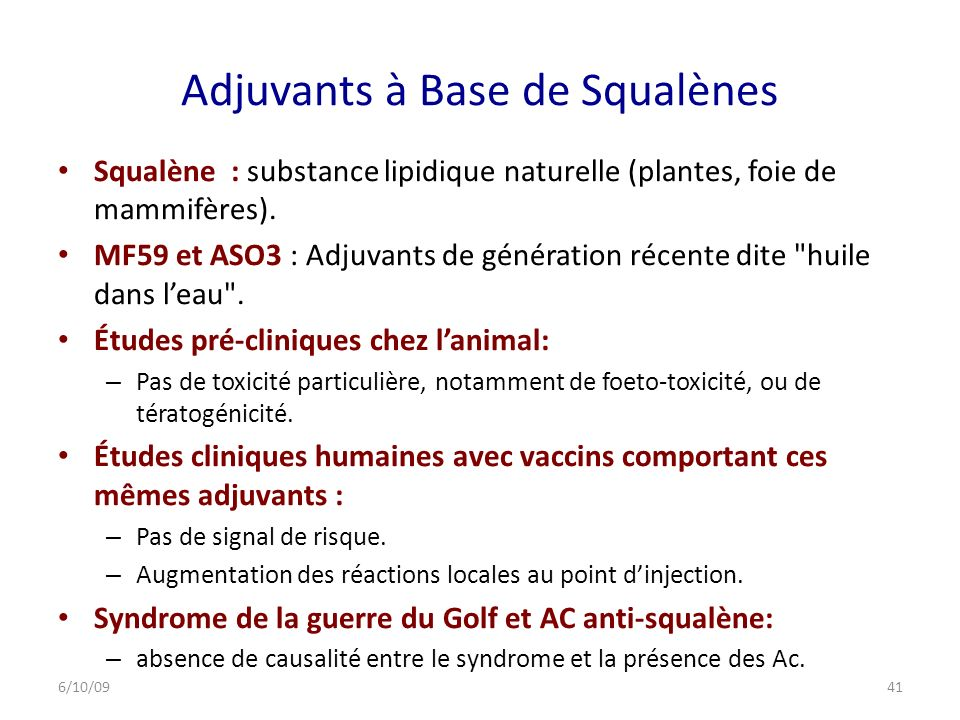 Adjuvants à Base de Squalènes