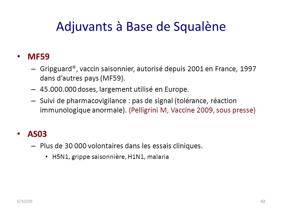 Adjuvants à Base de Squalène
