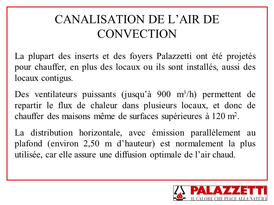 CANALISATION DE L'AIR DE CONVECTION