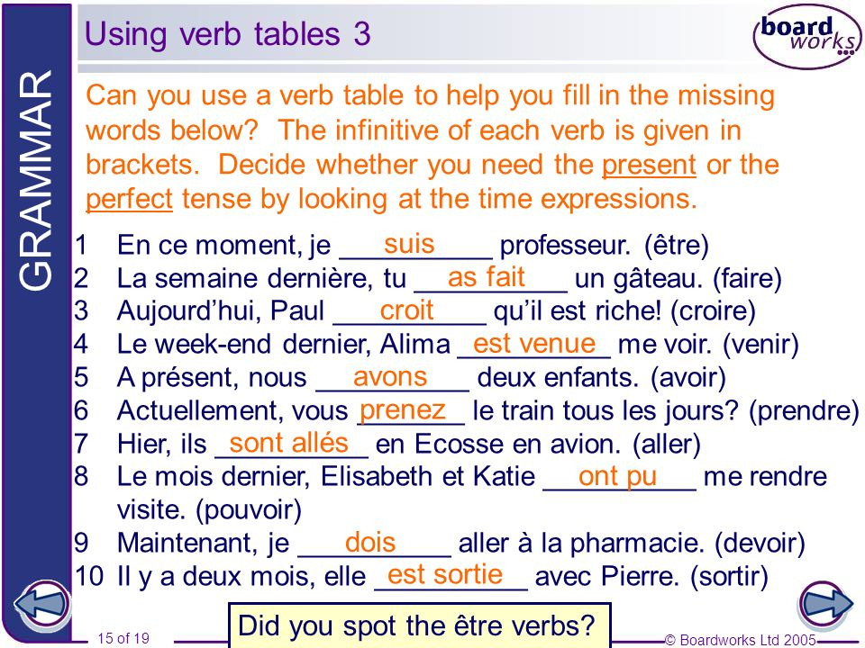 Using verb tables 3