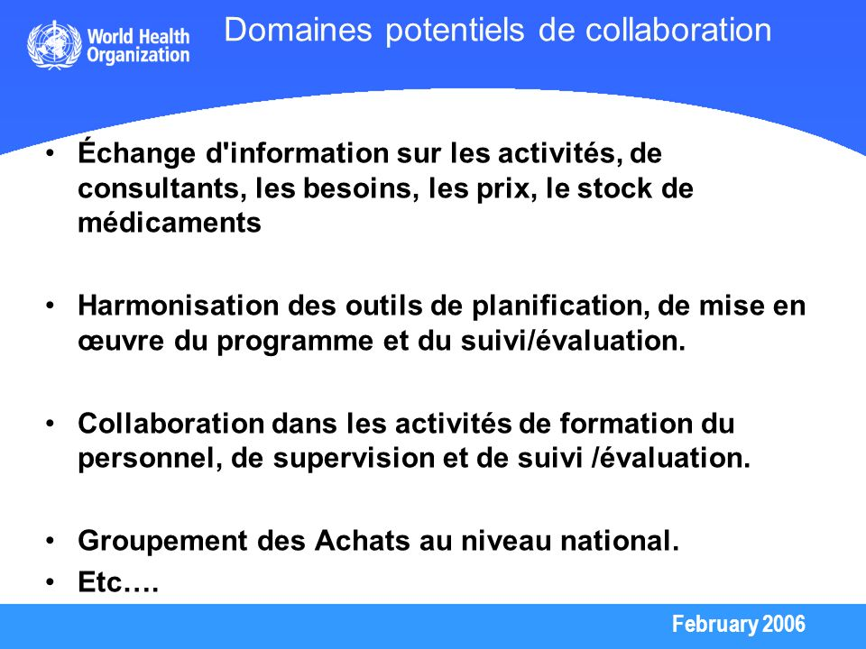Domaines potentiels de collaboration